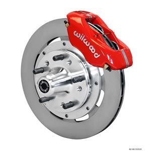 """Wilwood 55-57 Bel Air Front Disc Brake Kit 11.75"""" Plain Rotor Red Caliper"""