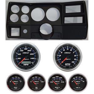 """84-87 Chevy Truck Black Dash Carrier w/ Auto Meter Cobalt 5"""" Gauges"""
