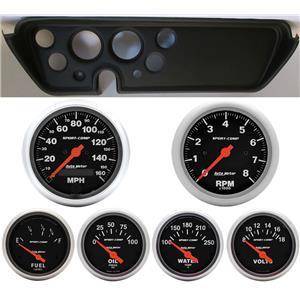 67 GTO Black Dash Carrier w/Auto Meter Sport Comp Electric Gauges