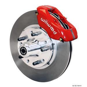 """Wilwood 55-57 Bel Air 150 210 Front Disc Brake Kit 11"""" Plain Rotor Red Caliper"""