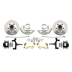 "64-72 A-body Front Disc Brake Wheel Kit Drilled Slotted Black Caliper 2"" Drop"
