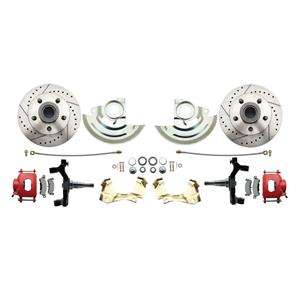 "64-72 A-body Front Disc Brake Wheel Kit Drilled Slotted Red Caliper 2"" Drop"