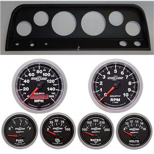 64 Chevy Truck Black Dash Carrier w/ Auto Meter Sport Comp II Gauges