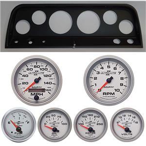 64 Chevy Truck Black Dash Carrier w/ Auto Meter Ultra Lite II Gauges