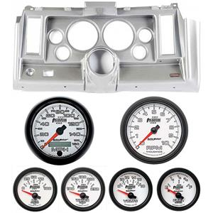 "69 Camaro Silver Dash Carrier w/ Auto Meter Phantom II 5"" Gauges"