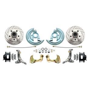 62-67 Nova Front Disc Brake Wheel Kit Drilled Slotted Black Caliper DBK6267LX-B