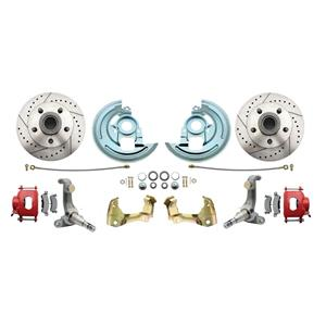 62-67 Nova Front Disc Brake Wheel Kit Drilled Slotted Red Caliper DBK6267LX-R