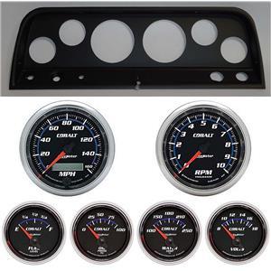 64 Chevy Truck Black Dash Carrier w/ Auto Meter Cobalt Gauges
