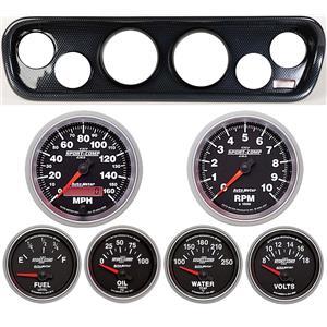 64-66 Mustang Carbon Dash Carrier w/ Auto Meter Sport Comp II Gauges