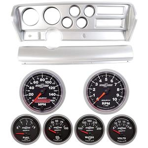 70-72 GTO Silver Dash Carrier w/ Auto Meter Sport Comp II Gauges