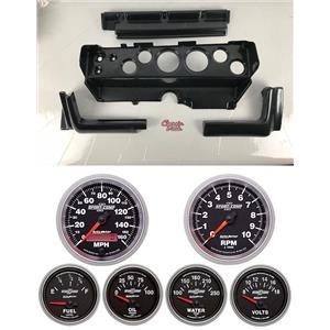 70-74 Mopar E-Body Carbon Dash Carrier w/ Auto Meter Sport Comp II Gauges