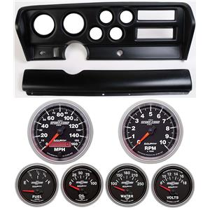 70-72 GTO Black Dash Carrier w/ Auto Meter Sport Comp II Gauges