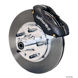 """Wilwood 55-57 Bel Air 150 210 Front Disc Brake Kit 11"""" Plain Rotor Black Caliper"""