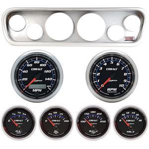 64-66 Mustang Silver Dash Carrier w/ Auto Meter Cobalt Gauges