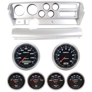 70-72 GTO Silver Dash Carrier w/ Auto Meter Cobalt Gauges