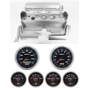 70-74 Mopar E-Body Silver Dash Carrier w/ Auto Meter Cobalt Gauges