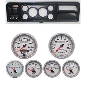 """73-79 Ford Truck Carbon Dash Carrier w/ Auto Meter 3-3/8"""" Ultra-Lite II Gauges"""