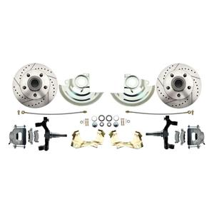 "F/X Body Front Disc Brake Wheel Kit Drilled Slotted Raw Caliper 2"" Drop"