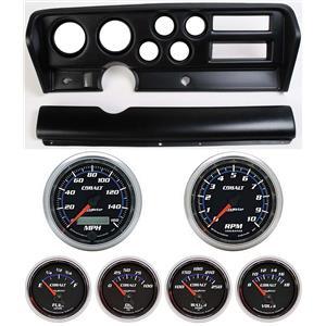 70-72 GTO Black Dash Carrier w/ Auto Meter Cobalt Gauges