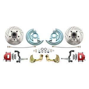 64-72 A-body Front Disc Brake Wheel Kit Drilled Slotted Red Caliper Stock Height