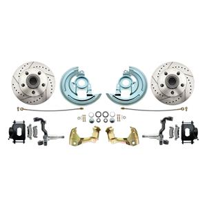 F/X Body Front Disc Brake Wheel Kit Drilled Slotted Black Caliper Stock Height