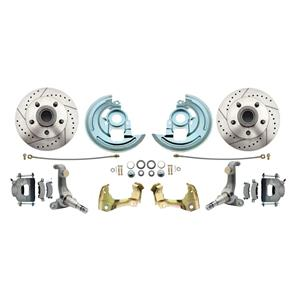 62-67 Nova Front Disc Brake Wheel Kit Drilled Slotted Raw Caliper DBK6267LX