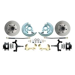 "64-72 A-body Front Disc Brake Wheel Kit Standard Rotor Black Caliper 2"" Drop"