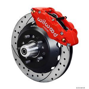 "Wilwood Big Brake 65-69 Ford Front Disc Brake Kit 12.88"" Drilled Rotor Red"