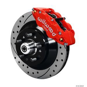 "Wilwood Mopar B & E Body Front Disc Big Brake Kit 12.88"" Drilled Rotor 1 pc Red"