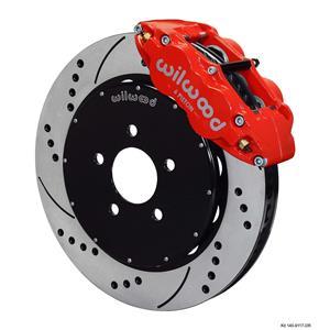 "Wilwood 94-04 Mustang Front Disc Big Brake Kit 14"" Drilled Rotor Red Caliper"
