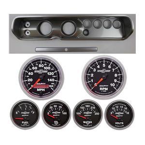 "64 Chevelle Silver Dash Carrier w/ Auto Meter 3-3/8"" Sport Comp II Gauges"