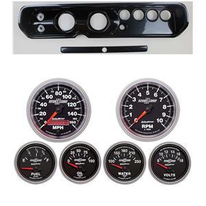 """64 Chevelle Carbon Dash Carrier w/ Auto Meter 3-3/8"""" Sport Comp II Gauges"""
