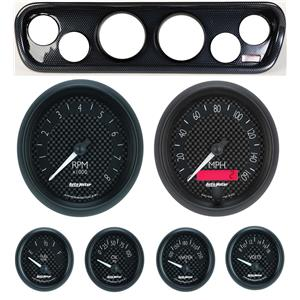 64-66 Mustang Carbon Dash Carrier w/ Auto Meter GT Gauges