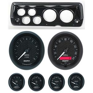 70-76 Mopar A Body Carbon Dash Carrier w/ Auto Meter GT Gauges
