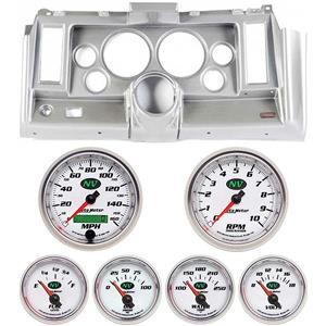 """69 Camaro Silver Dash Carrier w/ Auto Meter NV 5"""" Gauges"""