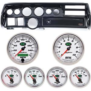 70-72 Chevelle Sweep Carbon Dash Carrier w/ Auto Meter NV Gauge Gauges
