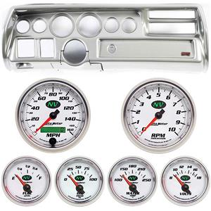 70-72 Chevelle Sweep Silver Dash Carrier w/ Auto Meter NV Gauge Gauges