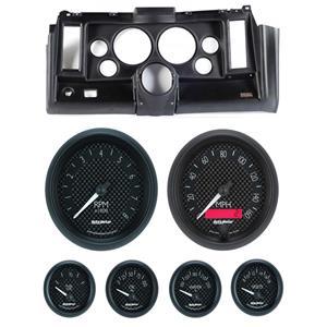 """69 Camaro Black Dash Carrier w/ Auto Meter GT 5"""" Gauges"""