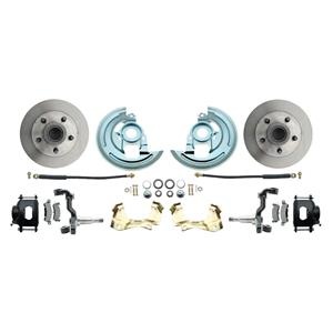 64-72 Abody Front Disc Brake Wheel Kit Standard Rotor Black Caliper Stock Height