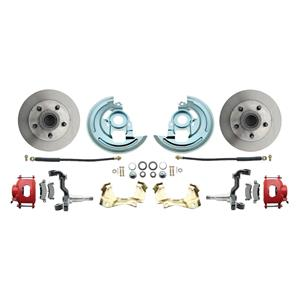 64-72 A-body Front Disc Brake Wheel Kit Standard Rotor Red Caliper Stock Height