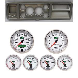 """73-79 Ford Truck Silver Dash Carrier w/ Auto Meter 3-3/8"""" NV Gauges"""