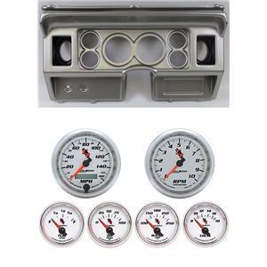 "80-86 Ford Truck Silver Dash Carrier w/ Auto Meter 3-3/8"" C2 Gauges"