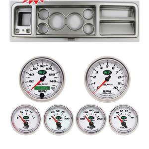 "73-79 Ford Truck Silver Dash Carrier w/ Auto Meter 3-3/8"" NV Gauges"