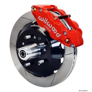 "Wilwood Mopar B & E Body Front Disc Big Brake Kit 14"" Plain Rotor Red Caliper"