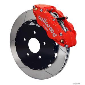 "Wilwood 94-04 Mustang Front Disc Big Brake Kit 12.88"" Plain Rotor Red Caliper"