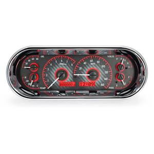 Rounded Rectangle VHX System, Carbon Fiber Style Face, Red Display