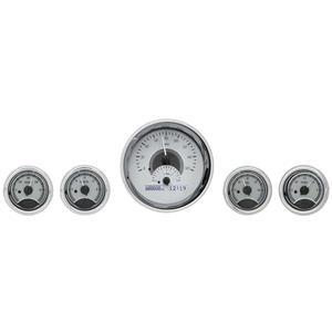 Dakota Digital Round Universal Analog Gauges Silver White Display VHX-1015-S-W
