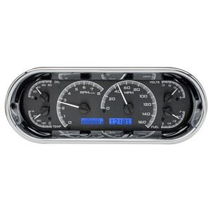 Dakota Digital Universal Recessed Oval VHX Analog Gauges Black / Blue VHX-1018-K-B