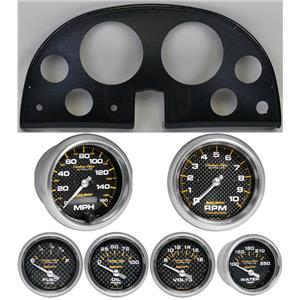 63-67 Corvette Carbon Dash Carrier w/ Auto Meter Carbon Fiber Gauges