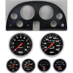 63-67 Corvette Carbon Dash Carrier w/ Auto Meter Sport Comp Mechanical Gauges